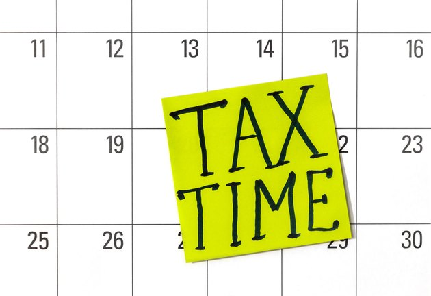 Can I File Two Years of Taxes at One Time?Sticker says ' tax time' on the calendar