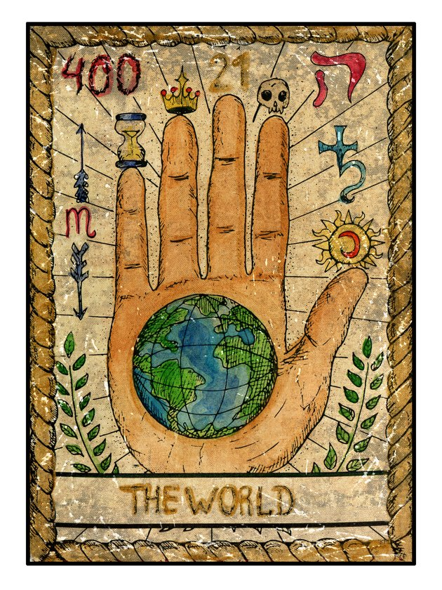 The Old Tarot card. The World