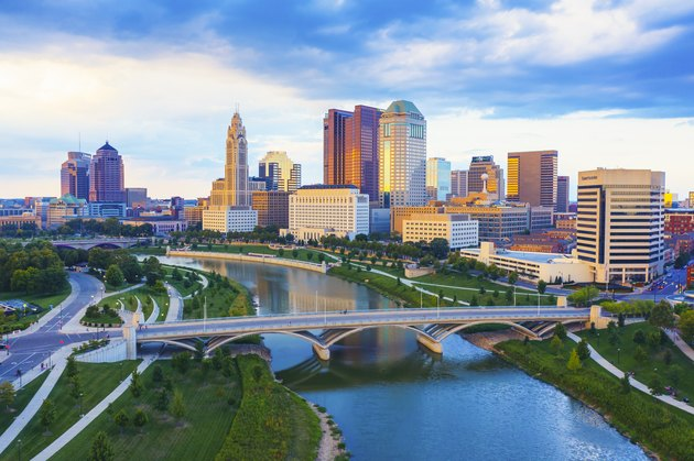 Aerial view of Downtown Columbus Ohio with Scioto river