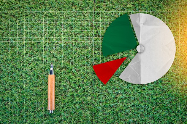 Easements & Property Owners Rights              sharp pencil and pie chart on green grass  texture background