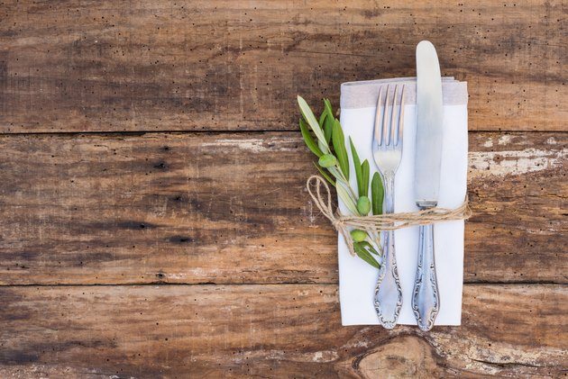 Rustic cutlery place setting