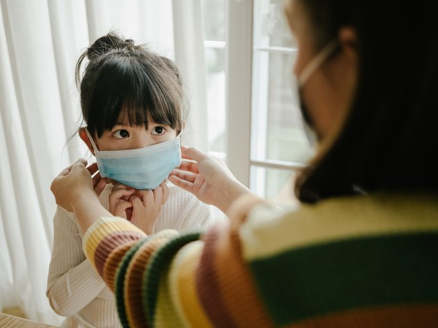 Mother and daughter in medical face protection mask