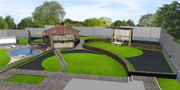 How to Build Octagon Steps                 Suburban yard landscaping wide angle view, 3d render
