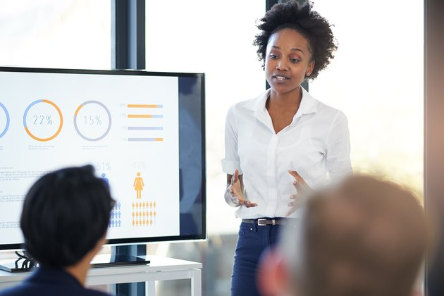 Young Black woman leading presentation in an office
