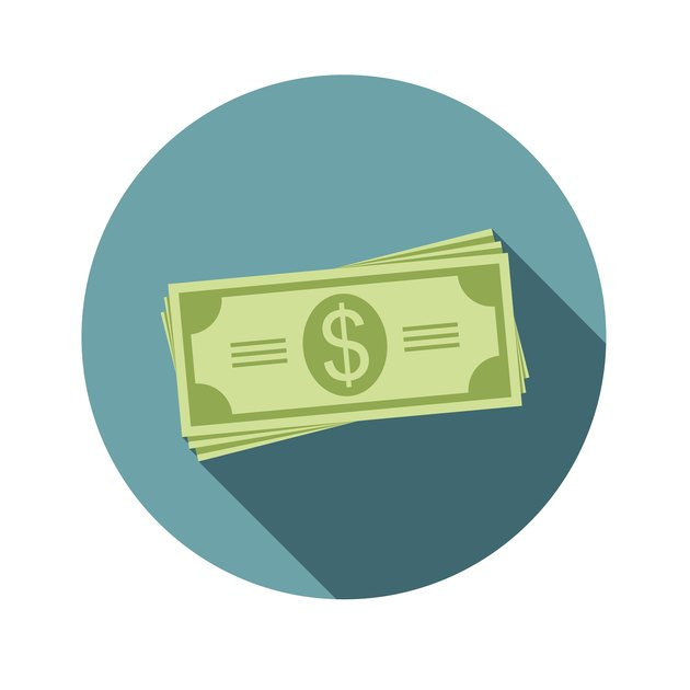 Stack of dollars. Paper bills or money. Icon in a