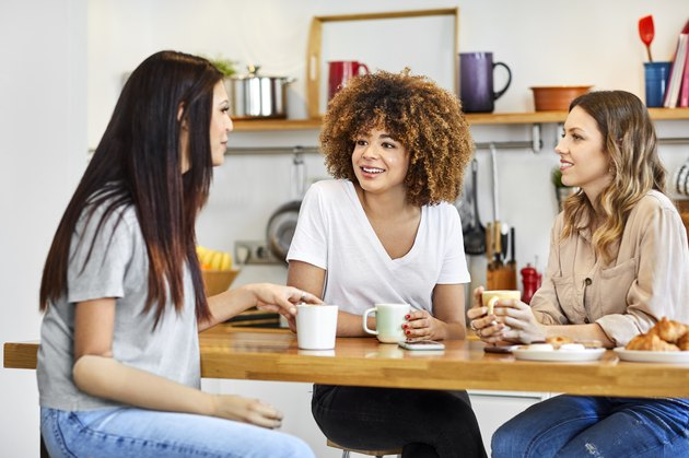 Women having coffee at home during lockdown