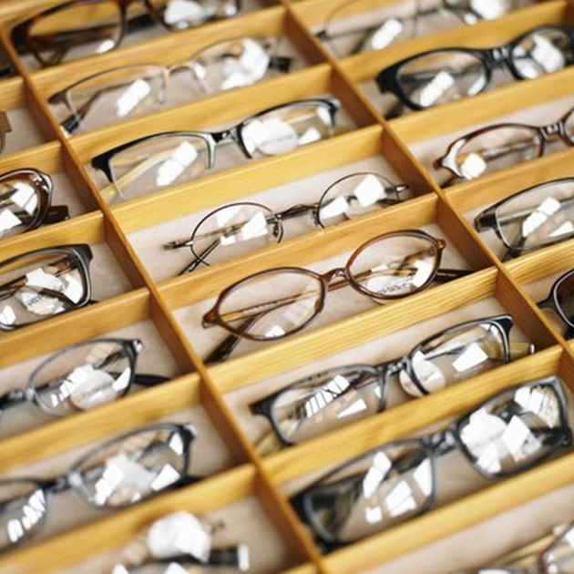 Display case of eyeglasses, close-up, high angle view