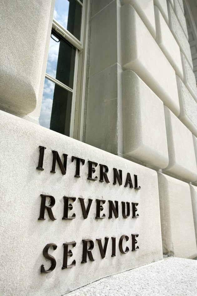 Sign on Internal Revenue Service building, Washington, DC
