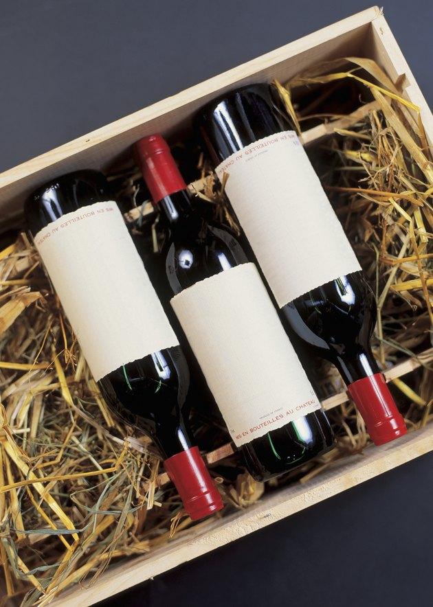 wine bottles packed in a crate