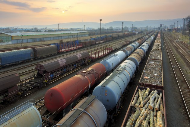 Freight Trains and Railways at sunset