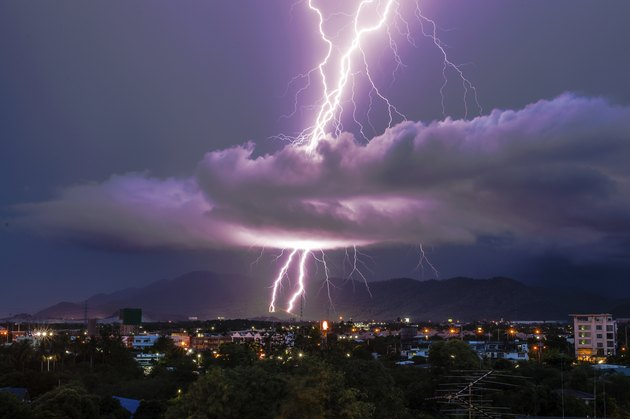 Lightning strike on the city mountain
