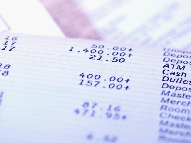Close-up of bank record