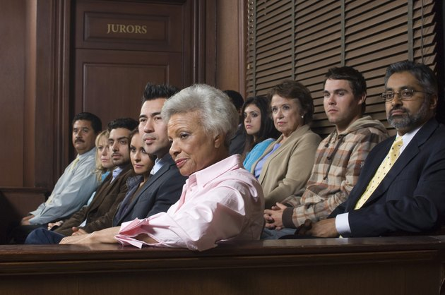 Jurors sitting  in courtroom