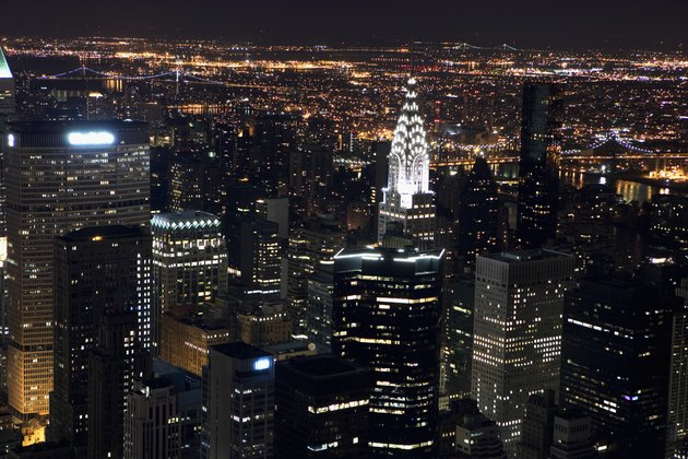 Aerial view of New York City at night, as seen from the Empire State Building, New York, NY, USA