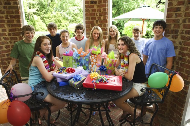 Teenagers at an outdoor birthday party