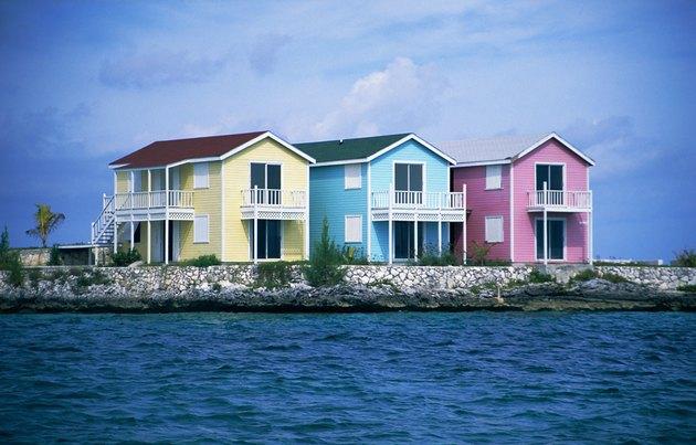 Pastel houses, New Providence, Bahamas