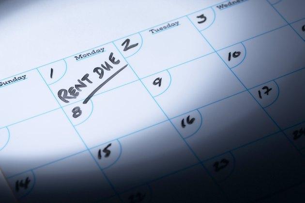 Rent due reminder on calendar