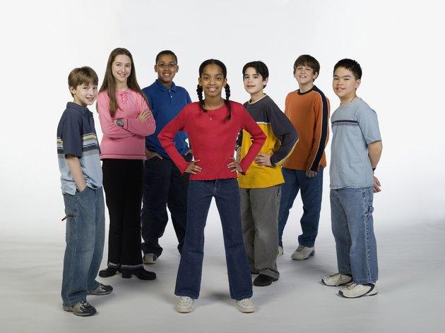 Multi-ethnic children posing