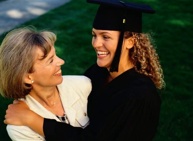 Graduate hugging her mother, elevated view