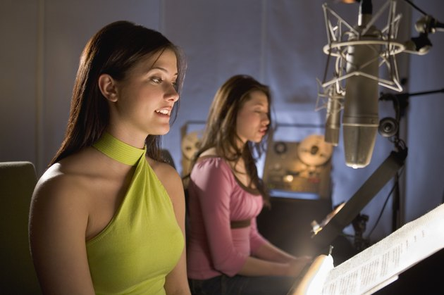Women in recording studio