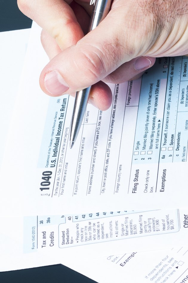 Filling the 1040 tax form