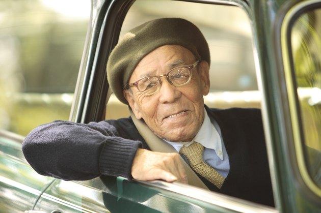 Senior man driving a car