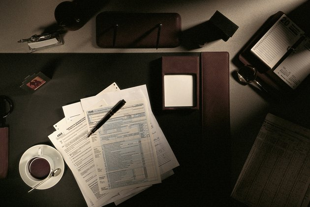Tax forms on office desk