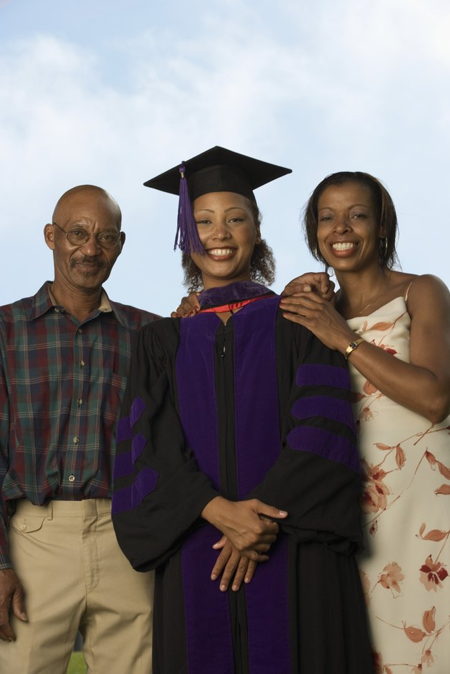 Female graduate with parents