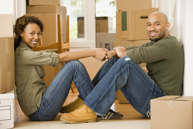 African couple in new house