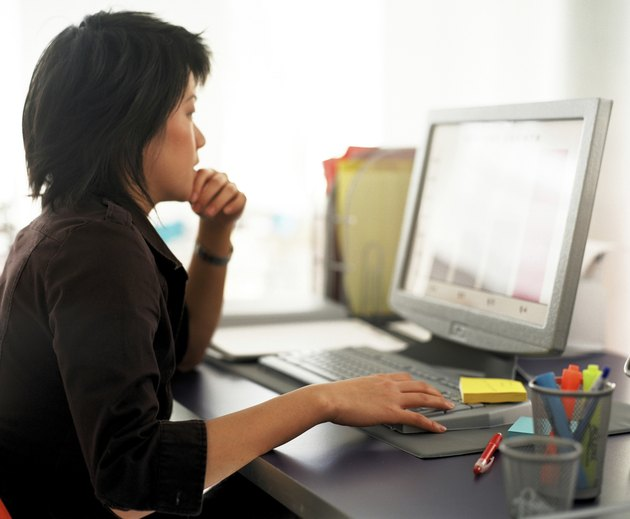 Businesswoman working with computer