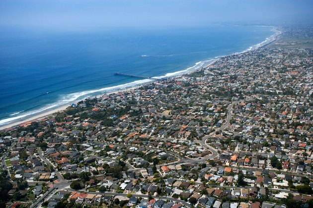 Aerial view of beachfront homes in Southern California