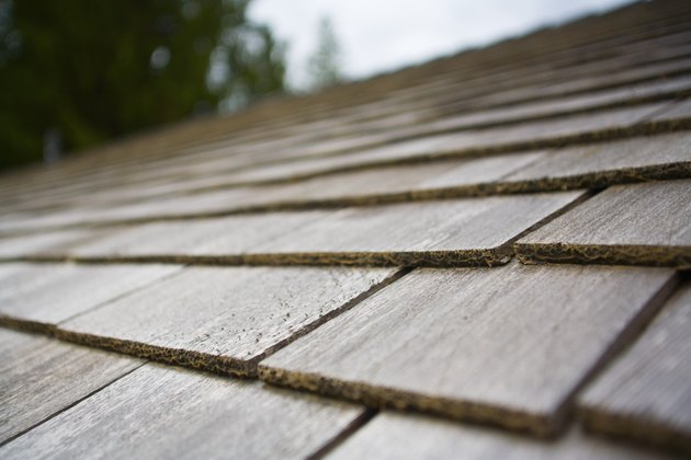 Wood shingles on a roof top