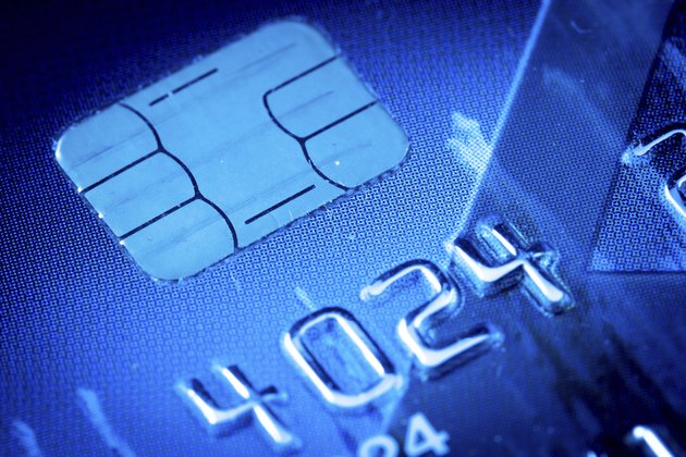 Credit card chip in blue