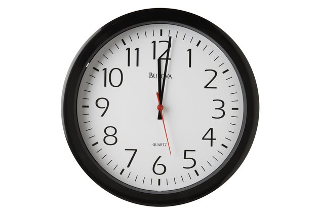 Clock showing one minute past 12 o'clock