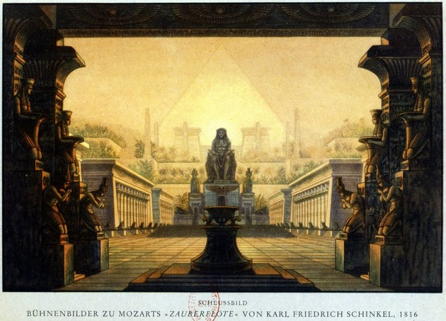 "Depiction of Temple of Isis and Osiris from Mozart opera ""The Magic Flute"""