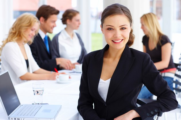 Female executive smiling