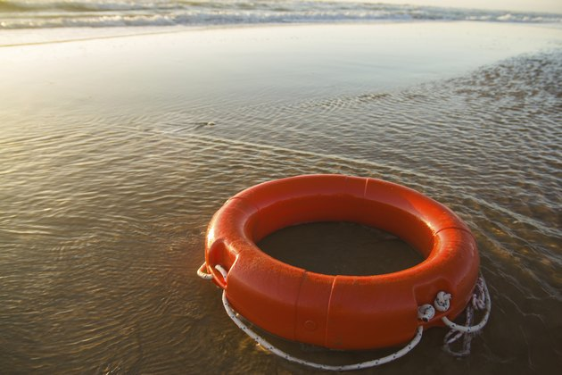 Life preserver on shore