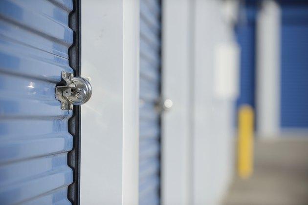 Locked self storage unit.
