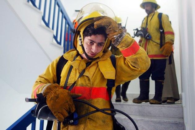 Kuwaiti Firefighter Trains In Kuwait City