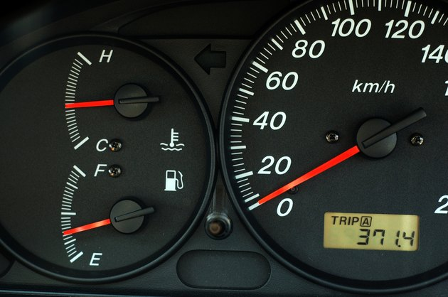 Car dashboard with speed