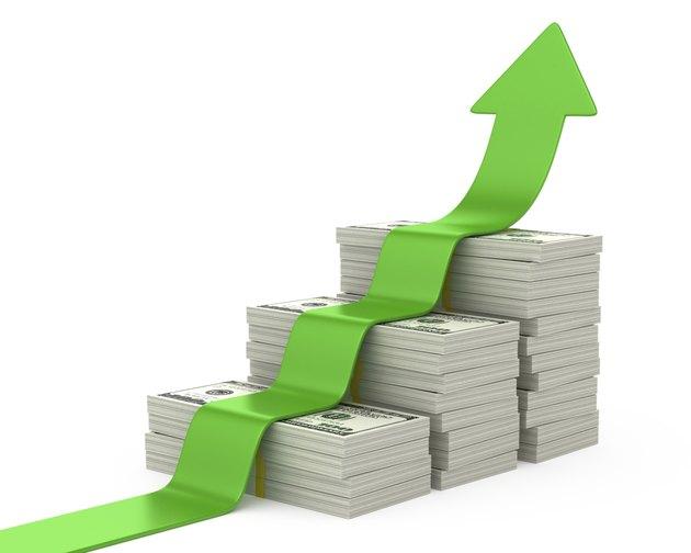 Dollars stairway and upward arrow