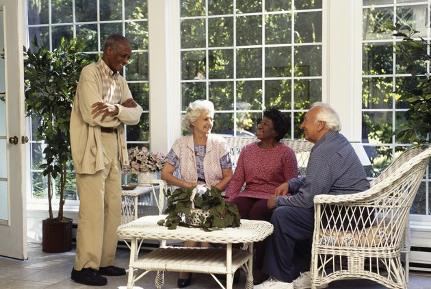 Retired couples in sun room