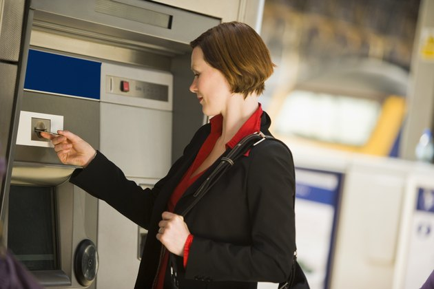 Businesswoman using an ATM