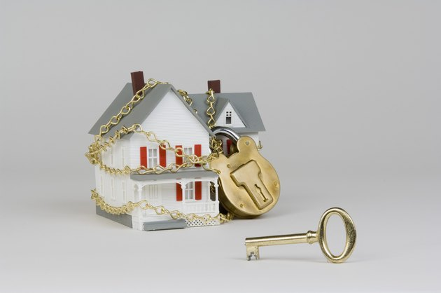 Miniature house with lock and key