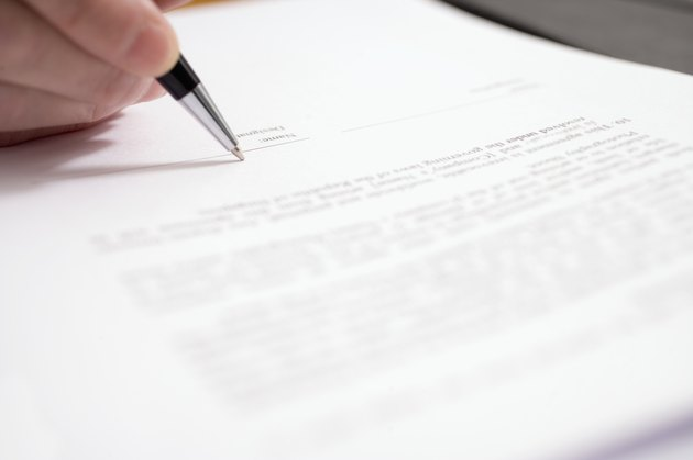 Pen signing document