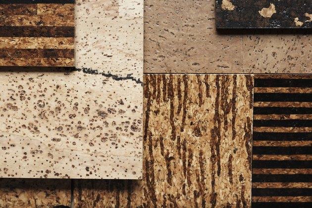 Assorted cork tiles, overhead view