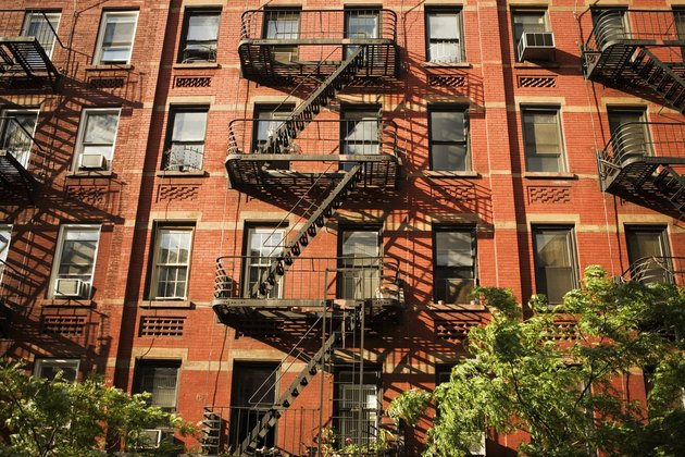 Fire escapes on an apartment building in Manhattan, New York City, NY, USA