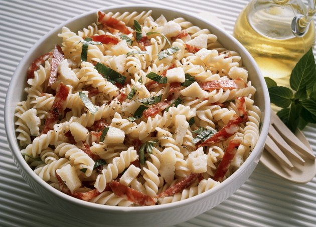 Pasta Salad with Salami and Basil
