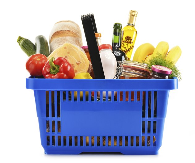 Shopping basket with variety of grocery products isolated on white