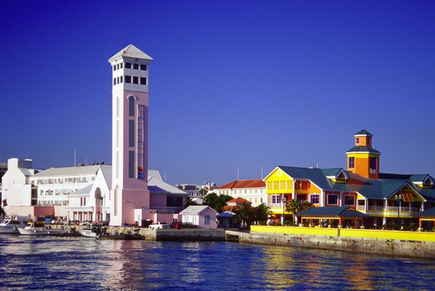 View of New Providence harbor and St. George's Anglican Church, Nassau, Bahamas, Caribbean